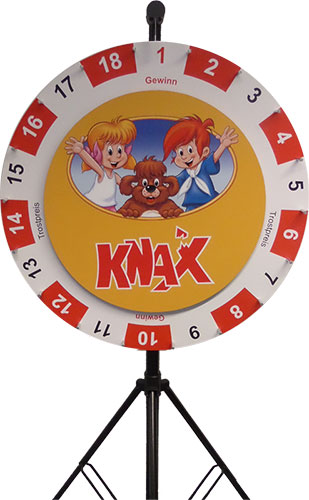 Wheel of fortune double small 90/64 cm with exchangeable layout 64 cm - Sparkasse Dinslaken-Voerde-Hünxe Motiv KNAX