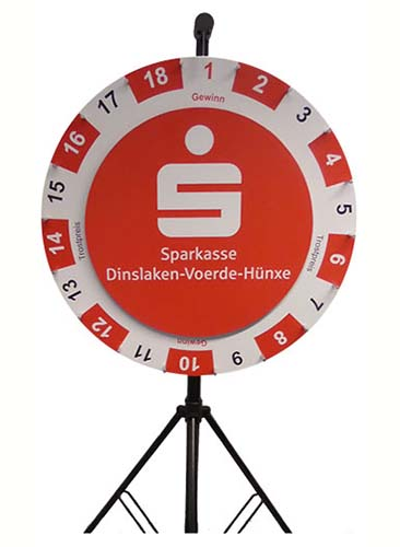 Wheel of fortune double small 90/64 cm with exchangeable layout 64 cm - Sparkasse Dinslaken-Voerde-Hünxe Motiv Sparkasse